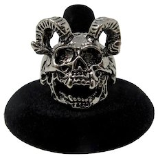 Silver Skull With Ram Horns Ring (Size 13.75)