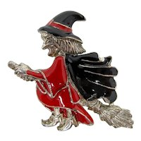Halloween Witch on Broomstick Brooch