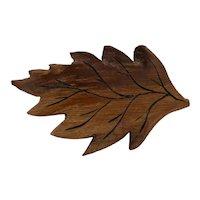 Autumn Oak Leaf Brooch Carved From Oak Wood