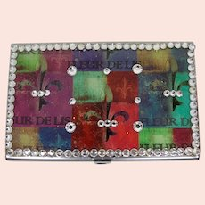 Rainbow Fleur-de-Lis Business Card Case With Mirror