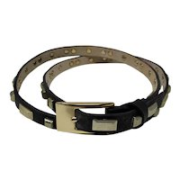 Skinny Black Leather Belt With Pale Gold Studs