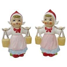 Ceramic Dutch Girl Salt & Pepper Shakers From Japan
