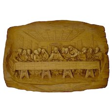 Last Supper Carved Wooden Bas-Relief Plaque From France