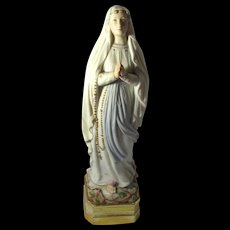 """Vintage Porcelain Blessed Virgin Mary of Lourdes Statue 13.5"""" Tall"""