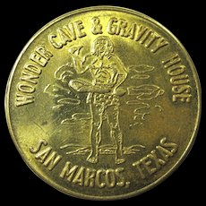 1950s Lucky Traveler's Coin From Texas Wonder Cave & Gravity House - Red Tag Sale Item