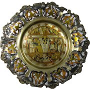 Vintage Metal Cutout Plate With Engraved Egyptian Design