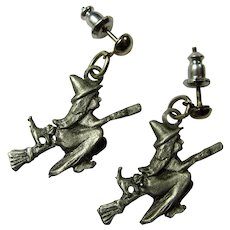 Vintage Pewter Witch & Cat Earrings
