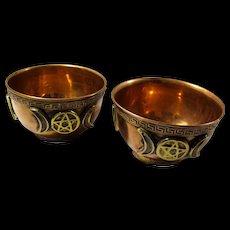 Vintage Copper Altar Bowls With Moons & Pentacles - Set of 2