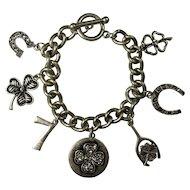 SALE! Vintage Lucky Symbols Charm Bracelet