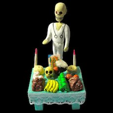 "Vintage Day of the Dead ""Witch Doctor"" & Tiny Altar From Mexico"