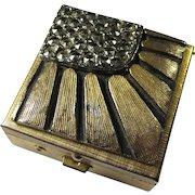 Vintage Brass Pillbox With Sunburst Pattern