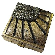 SALE! Vintage Brass Pillbox With Sunburst Pattern