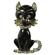 1940s Lucky Black Cat Brooch With White Rhinestones