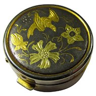 SALE! Vintage Damascene Bird & Flowers Pillbox