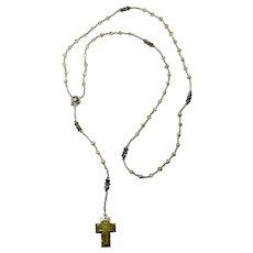 """Bethlehem"" PZBaubles Handmade Rosary With Antique White Abalone Cross"