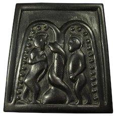 """Irish """"Bog Art"""" - Peat Turf Plaque of Adam & Eve with Serpent"""