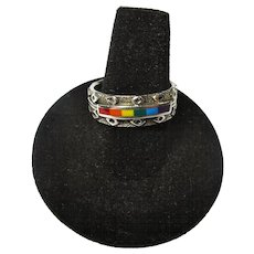 Vintage Peter Stone Sterling Ring With LGBT Rainbow Inlay - Sz 9 - Red Tag Sale Item