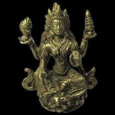 Vintage Hindu Goddess Lakshmi Brass Statue