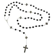 """Mourning Lena"" Handmade Jet Rosary With Handmade Whitby Jet Cross"