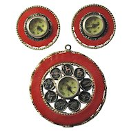 SALE! 1960s Mode-Art Pendant/Earring Set With Inset Compasses & Zodiac Wheel