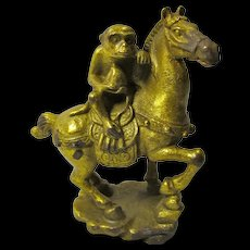 Vintage Feng Shui Monkey & Horse Good Luck Statue