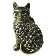 Vintage Marcasite Cat Tie Tack-Style Pin