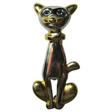 Vintage Two-Tone Siamese Cat Brooch