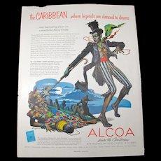 1954 Voodoo Magazine Ad - Artwork Depicting Baron Samedi