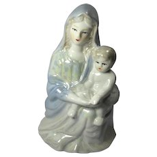 Mid-Century Lusterware Virgin Mary & Christ Child Statue