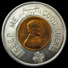 Vintage Publisher's Good Luck Piece With 1953-D Wheat Penny