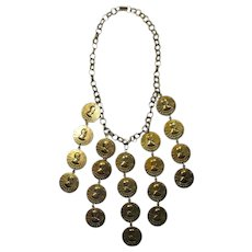 Vintage Belly Dancer's Lucky Penny Bib Necklace