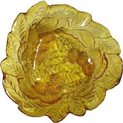 1950s Amber Glass Candy Dish With Blackberries & Leaves Pattern