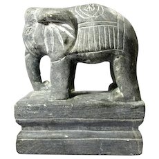 Vintage Carved Stone Elephant Statue From India
