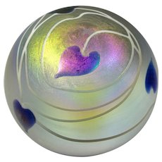 Vintage Iridescent Art Glass Paperweight With Purple Hearts