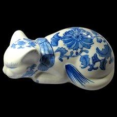 Vintage Large Blue & White China Cat