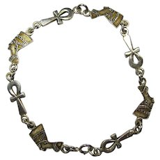 Vintage Sterling Egyptian Bracelet With Ankhs & Nefertari Heads