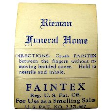 "1940s ""Faintex"" Smelling Salts Kit From Rieman Funeral Home, Union City, NJ"