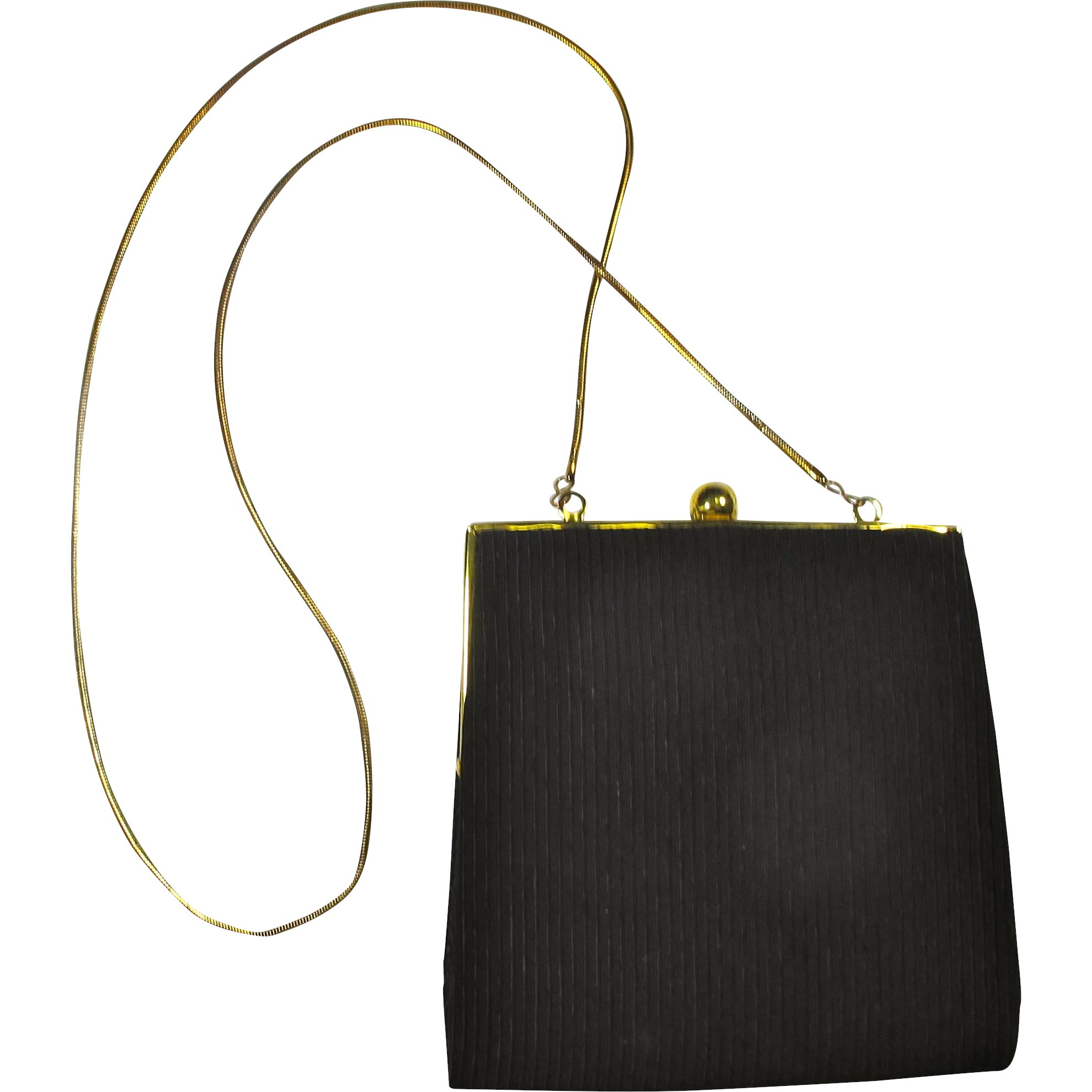 459ba072f6cd Vintage Black Clutch Purse With Gold Chain Strap   PZBaubles New Orleans