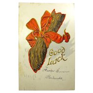 1908 Good Luck Postcard With Creepy Paw - Postmarked New Orleans