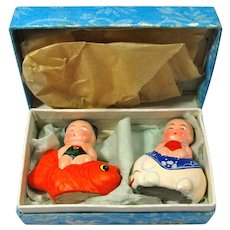 Vintage Feng Shui Good Luck Baby Boy & Girl In Original Box