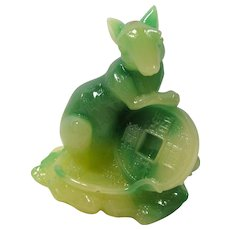 Vintage Carved Jade Feng Shui Rat With Lucky Coin In Original Box