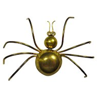 1930s Art Deco Large Brass Spider Brooch With Rhinestone Eyes