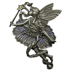Vintage Pewter Butterfly Fairy Brooch With Purple Sparkles