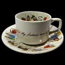 Vintage Taltos Fortune Telling Tea Cup & Saucer Set