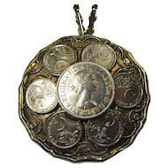Vintage British Half Crown & Pakistani Coin Medallion Necklace