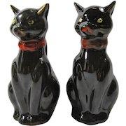 Vintage Porcelain Black Cat Salt & Pepper Shakers