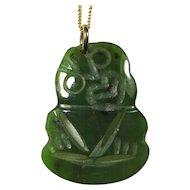 Vintage Greenstone Maori Hei-Tiki Pendant On Gold-Plated Chain