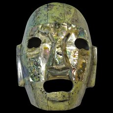 Vintage Mexican Pottery Mask Inlaid With Abalone Shell