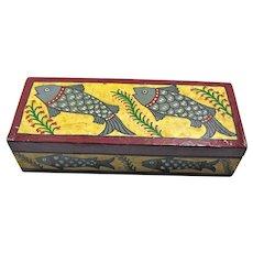 Vintage Handmade Jarrah Wood Tarot Box With Lucky Fish