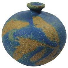 1970s Rustic Blue & Copper Ceramic Bud Vase